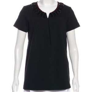 NWT KATE SPADE Nadia Embellished Short-Sleeve Top